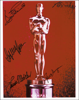 OSCAR WINNERS - AUTOGRAPHED SIGNED PHOTOGRAPH CO-SIGNED BY: PATRICIA NEAL, JOAN FONTAINE, JANE WYMAN, SOPHIA LOREN, LOUISE FLETCHER