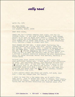 SALLY RAND - TYPED LETTER SIGNED 04/22/1974