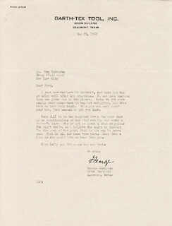 GEORGE ZAHARIAS - TYPED LETTER SIGNED 05/28/1952