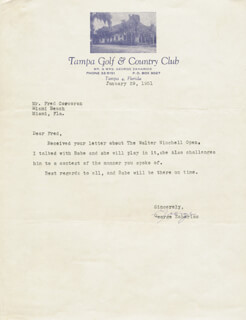 GEORGE ZAHARIAS - TYPED LETTER SIGNED 01/29/1951