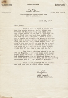 GEORGE ZAHARIAS - TYPED LETTER SIGNED 06/18/1949