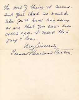 FIRST LADY FRANCES F. CLEVELAND - AUTOGRAPH LETTER SIGNED 02/18/1934