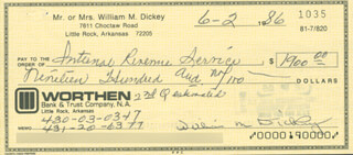 BILL DICKEY - AUTOGRAPHED SIGNED CHECK 06/02/1986