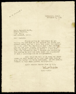 W. C. FIELDS - TYPED LETTER SIGNED 11/02/1942