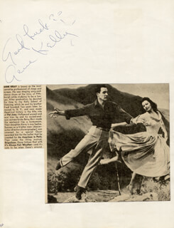 GENE KELLY - AUTOGRAPH CO-SIGNED BY: ANNE NEYLAND