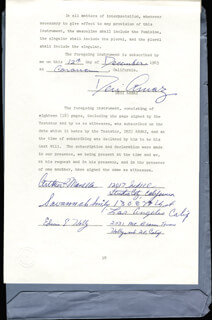 Autographs: DESI ARNAZ SR. - DOCUMENT SIGNED 12/12/1963