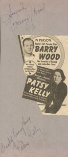 PATSY KELLY - AUTOGRAPH SENTIMENT SIGNED CO-SIGNED BY: BARRY WOOD