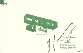IGOR SIKORSKY - POST CARD SIGNED