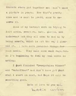 MARIE WILSON - TYPED LETTER SIGNED 06/18/1938