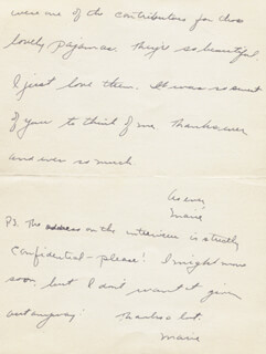 MARIE WILSON - AUTOGRAPH LETTER DOUBLE SIGNED CIRCA 04/1937