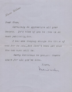 MARIE WILSON - TYPED LETTER SIGNED 12/22/1937
