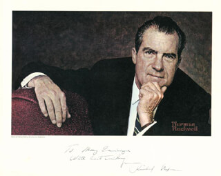Autographs: PRESIDENT RICHARD M. NIXON - INSCRIBED ILLUSTRATION SIGNED