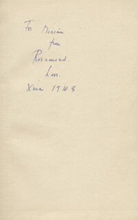 ROSAMOND LEHMANN - INSCRIBED BOOK SIGNED 12/1948