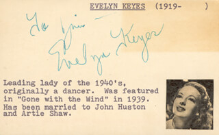 EVELYN KEYES - INSCRIBED SIGNATURE