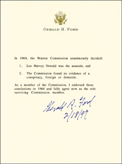 PRESIDENT GERALD R. FORD - TYPED STATEMENT SIGNED 02/18/1997