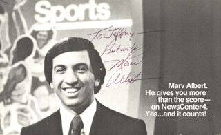 Autographs: MARV ALBERT - INSCRIBED PRINTED PHOTOGRAPH SIGNED IN INK