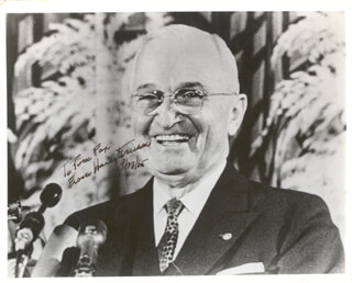 PRESIDENT HARRY S TRUMAN - AUTOGRAPHED INSCRIBED PHOTOGRAPH 09/23/1965