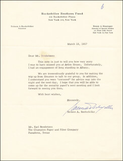 Autographs: VICE PRESIDENT NELSON A. ROCKEFELLER - TYPED LETTER SIGNED 03/18/1957