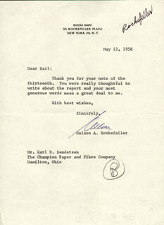 Autographs: VICE PRESIDENT NELSON A. ROCKEFELLER - TYPED LETTER SIGNED 05/22/1958