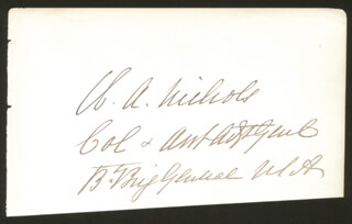 MAJOR GENERAL WILLIAM AUGUSTUS NICHOLS - AUTOGRAPH
