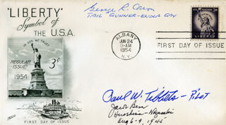 ENOLA GAY CREW - FIRST DAY COVER SIGNED CO-SIGNED BY: ENOLA GAY CREW (JACOB BESER), ENOLA GAY CREW (GEORGE R. CARON), ENOLA GAY CREW (PAUL W. TIBBETS)