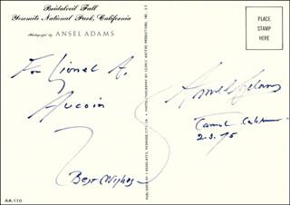 ANSEL ADAMS - INSCRIBED PICTURE POSTCARD SIGNED 02/03/1975