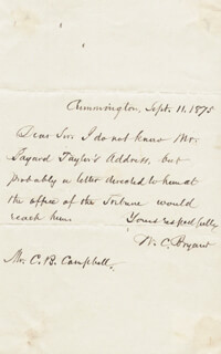 WILLIAM CULLEN BRYANT - AUTOGRAPH LETTER SIGNED 09/11/1875