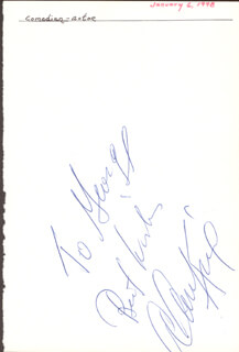 ALAN KING - AUTOGRAPH NOTE SIGNED