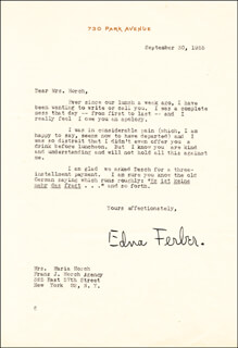 EDNA FERBER - TYPED LETTER SIGNED 09/30/1955