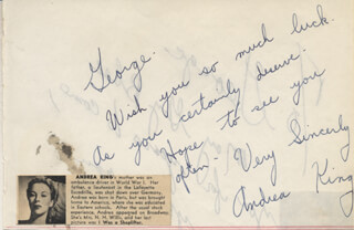 ANDREA KING - AUTOGRAPH NOTE SIGNED
