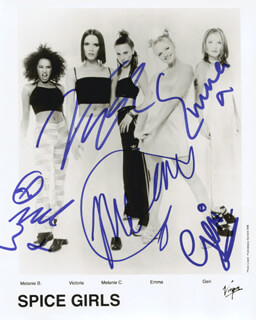 THE SPICE GIRLS - AUTOGRAPHED SIGNED PHOTOGRAPH CO-SIGNED BY: SPICE GIRLS (MELANIE JAYNE SPORTY SPICE CHISHOLM), SPICE GIRLS (MELANIE JANINE SCARY SPICE BROWN), SPICE GIRLS (VICTORIA POSH SPICE ADAMS BECKHAM), SPICE GIRLS (EMMA LEE BABY SPICE BUNTON), SPICE GIRLS (GERI GINGER SPICE HALLIWELL) - HFSID 255469