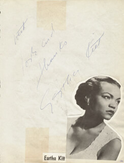 EARTHA KITT - AUTOGRAPH SENTIMENT SIGNED