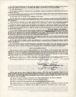 VICTOR JORY - CONTRACT SIGNED 09/18/1952