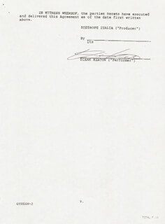 DIANE KEATON - CONTRACT SIGNED 07/28/1989