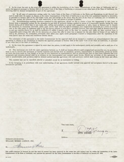 OTTO KRUGER - CONTRACT SIGNED 07/24/1951