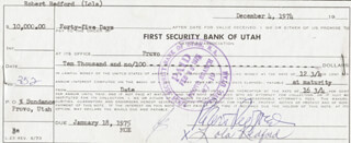 ROBERT REDFORD - PROMISSORY NOTE SIGNED CO-SIGNED BY: LOLA REDFORD