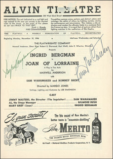 JOAN OF LORRAINE PLAY CAST - PROGRAM SIGNED CIRCA 1946 CO-SIGNED BY: KEVIN McCARTHY, INGRID BERGMAN
