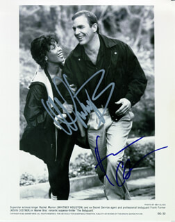 THE BODYGUARD MOVIE CAST - AUTOGRAPHED SIGNED PHOTOGRAPH CIRCA 1992 CO-SIGNED BY: KEVIN COSTNER, WHITNEY HOUSTON