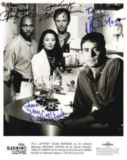 THE BURNING ZONE TV CAST - INSCRIBED PRINTED PHOTOGRAPH SIGNED IN INK CO-SIGNED BY: JEFFREY DEAN MORGAN, MICHAEL HARRIS, TAMLYN TOMITA, JAMES BLACK
