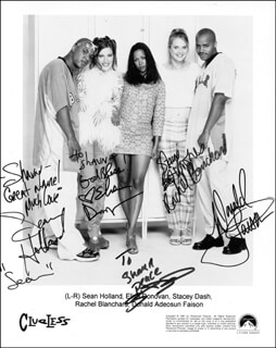 CLUELESS TV CAST - AUTOGRAPHED INSCRIBED PHOTOGRAPH CO-SIGNED BY: SEAN HOLLAND, ELISA DONOVAN, STACEY DASH, RACHEL BLANCHARD, DONALD A. FAISON
