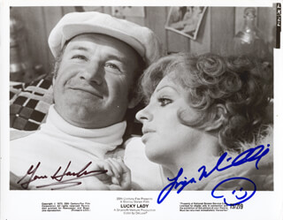 LUCKY LADY MOVIE CAST - PRINTED PHOTOGRAPH SIGNED IN INK CO-SIGNED BY: GENE HACKMAN, LIZA MINNELLI