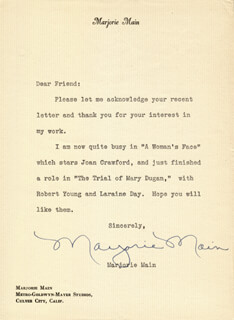 MARJORIE MAIN - TYPED LETTER SIGNED