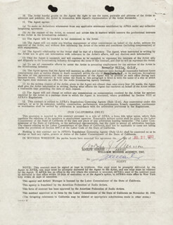 ADOLPHE MENJOU - CONTRACT SIGNED 07/22/1952