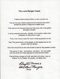 CLAYTON THE LONE RANGER MOORE - TYPESCRIPT SIGNED 1997