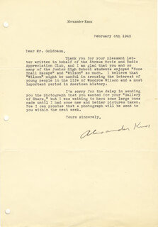 ALEXANDER KNOX - TYPED LETTER SIGNED 02/06/1945