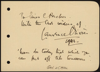 LAURENCE OLIVIER - AUTOGRAPH QUOTATION SIGNED 1933