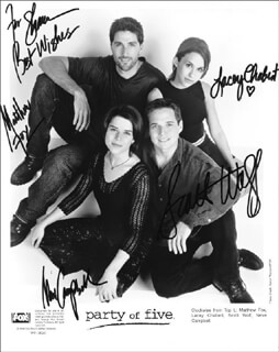 PARTY OF FIVE TV CAST - AUTOGRAPHED INSCRIBED PHOTOGRAPH CIRCA 1998 CO-SIGNED BY: NEVE CAMPBELL, MATTHEW FOX, LACEY CHABERT, SCOTT WOLF
