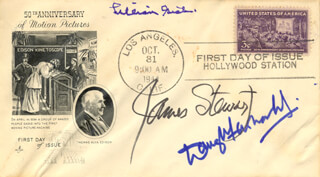 LILLIAN GISH - FIRST DAY COVER SIGNED CO-SIGNED BY: JAMES JIMMY STEWART, DOUGLAS FAIRBANKS JR.