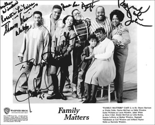 FAMILY MATTERS TV CAST - AUTOGRAPHED INSCRIBED PHOTOGRAPH CIRCA 1995 CO-SIGNED BY: ROSETTA LE NOIRE, SHAWN HARRISON, JALEEL WHITE, REGINALD VEL JOHNSON