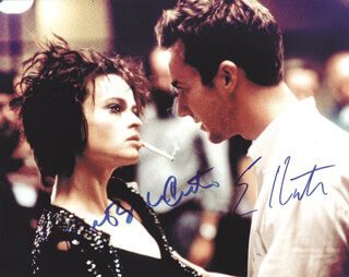 FIGHT CLUB MOVIE CAST - AUTOGRAPHED SIGNED PHOTOGRAPH CO-SIGNED BY: EDWARD NORTON, HELENA BONHAM CARTER